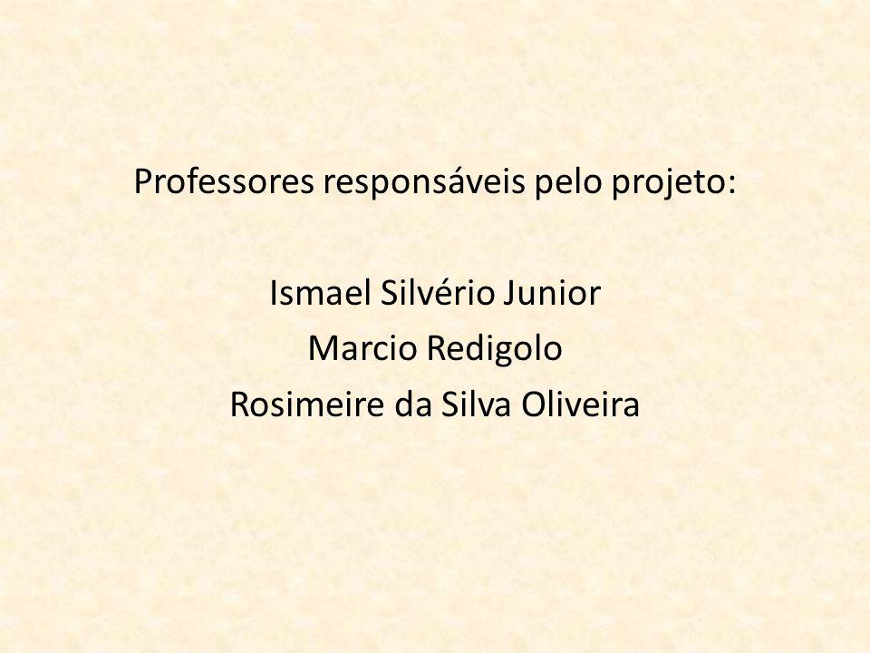 Professores responsáveis pelo projeto: Ismael Silvério Junior Marcio Redigolo Rosimeire da Silva Oliveira