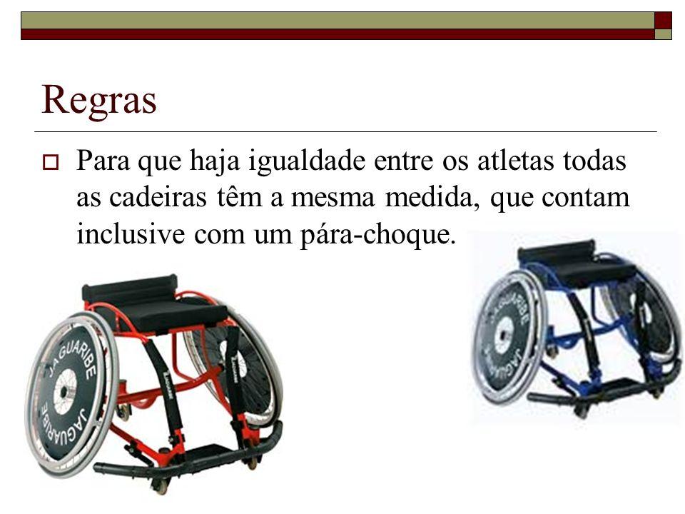 Regras Para que haja igualdade entre os atletas todas as cadeiras têm a mesma medida, que contam inclusive com um pára-choque.