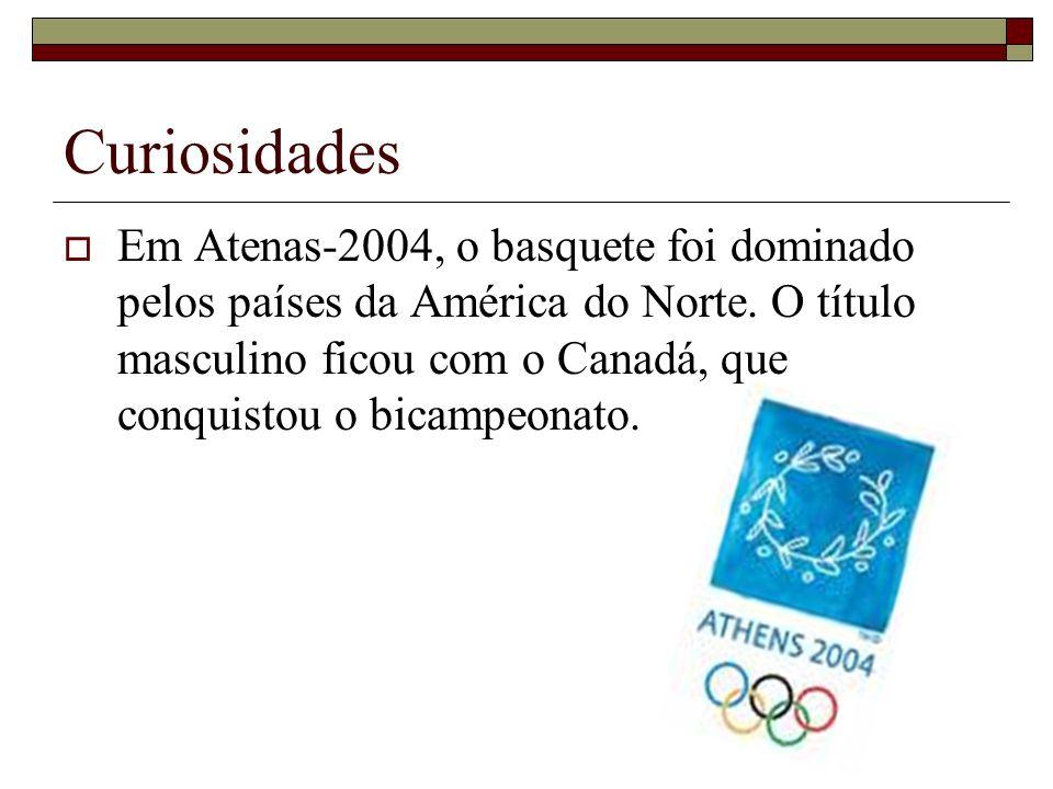 Curiosidades Em Atenas-2004, o basquete foi dominado pelos países da América do Norte. O título masculino ficou com o Canadá, que conquistou o bicampe