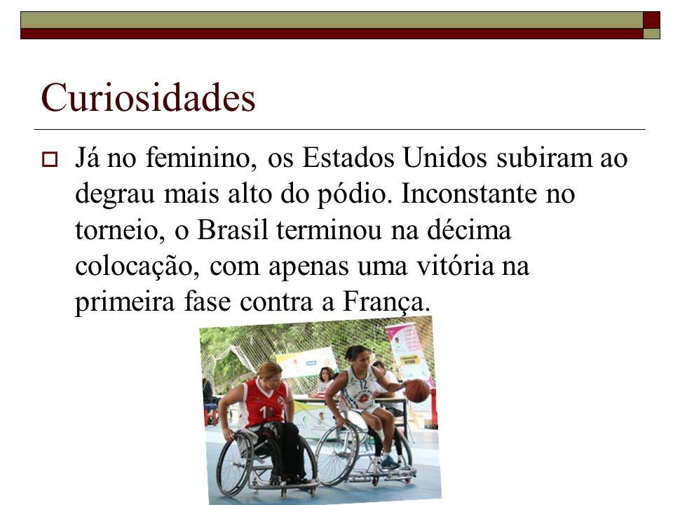 Curiosidades Já no feminino, os Estados Unidos subiram ao degrau mais alto do pódio. Inconstante no torneio, o Brasil terminou na décima colocação, co