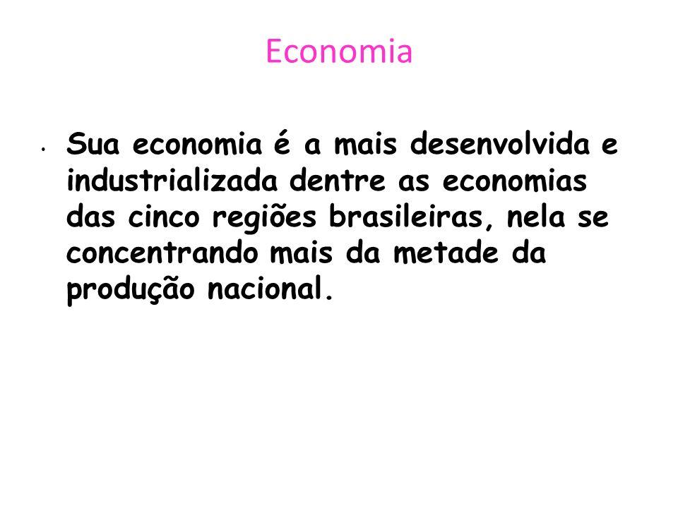 Economia Sua economia é a mais desenvolvida e industrializada dentre as economias das cinco regiões brasileiras, nela se concentrando mais da metade d