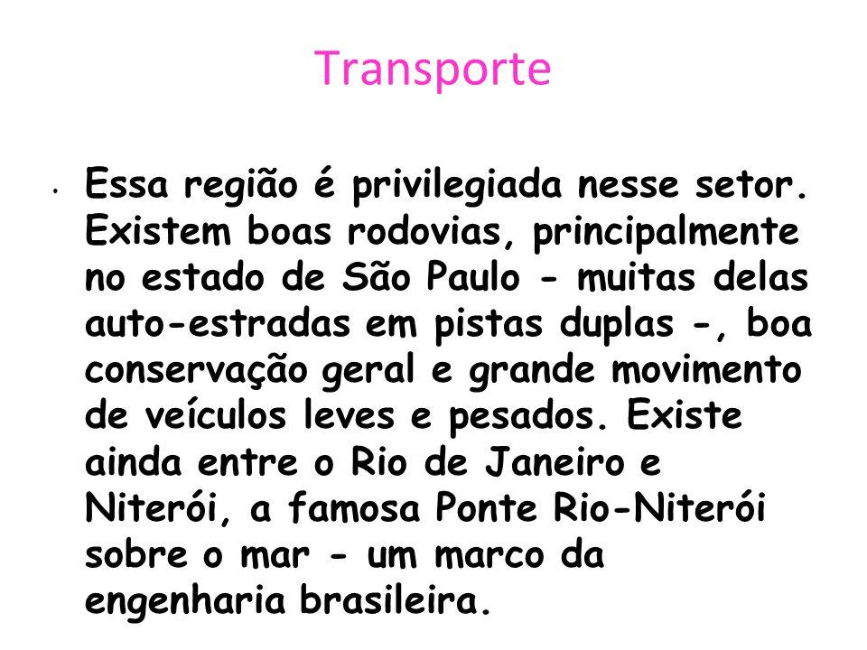 Transporte Essa região é privilegiada nesse setor. Existem boas rodovias, principalmente no estado de São Paulo - muitas delas auto-estradas em pistas