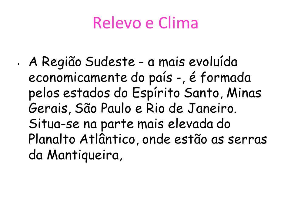 Relevo e Clima A Região Sudeste - a mais evoluída economicamente do país -, é formada pelos estados do Espírito Santo, Minas Gerais, São Paulo e Rio d