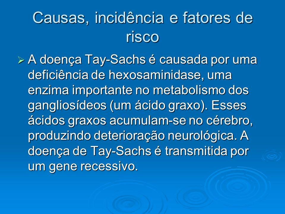 Causas, incidência e fatores de risco A doença Tay-Sachs é causada por uma deficiência de hexosaminidase, uma enzima importante no metabolismo dos gan