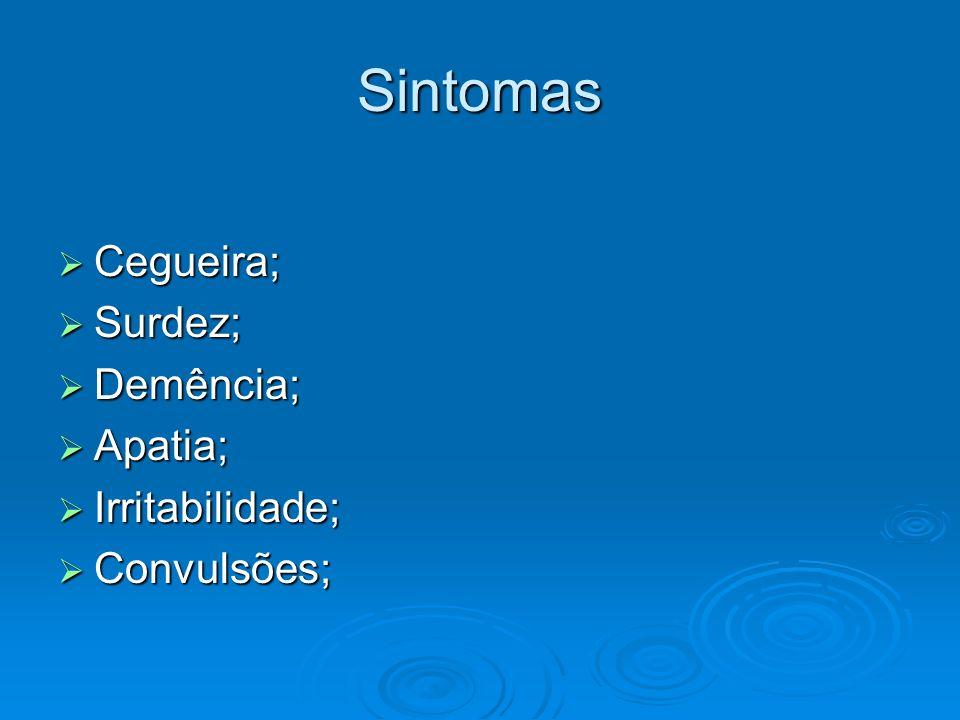 Sintomas Cegueira; Cegueira; Surdez; Surdez; Demência; Demência; Apatia; Apatia; Irritabilidade; Irritabilidade; Convulsões; Convulsões;