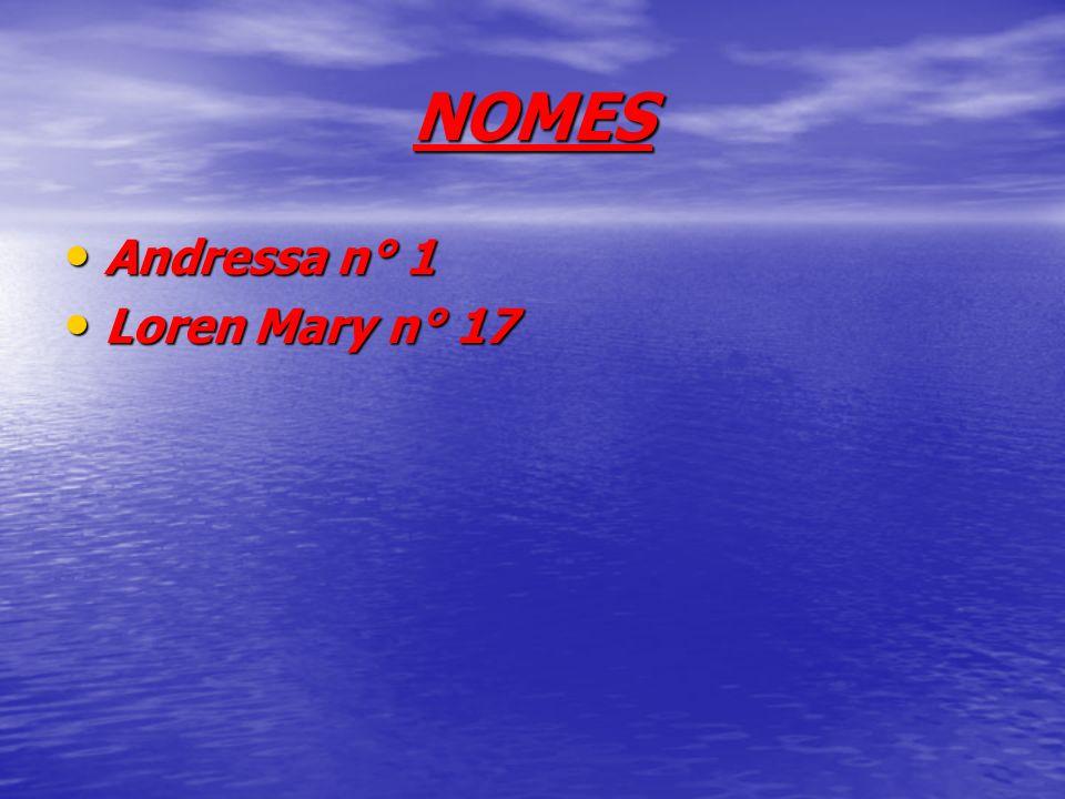 NOMES Andressa n° 1 Andressa n° 1 Loren Mary n° 17 Loren Mary n° 17