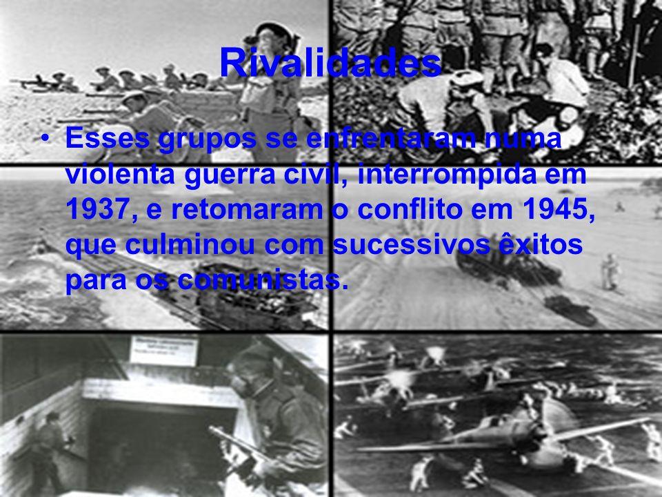 Rivalidades Esses grupos se enfrentaram numa violenta guerra civil, interrompida em 1937, e retomaram o conflito em 1945, que culminou com sucessivos