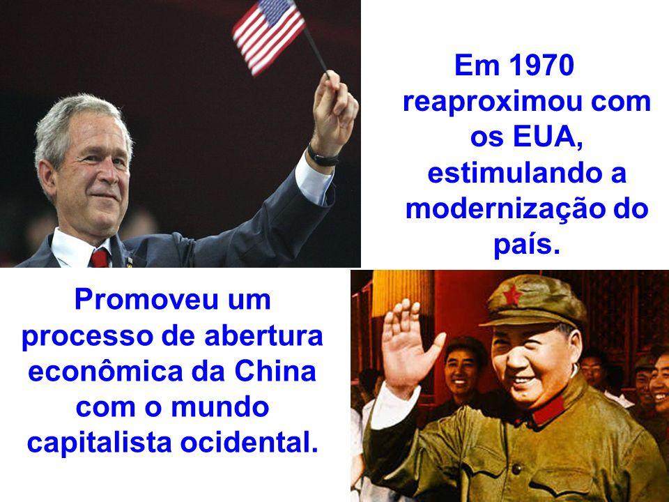 Em 1970 reaproximou com os EUA, estimulando a modernização do país. Promoveu um processo de abertura econômica da China com o mundo capitalista ociden