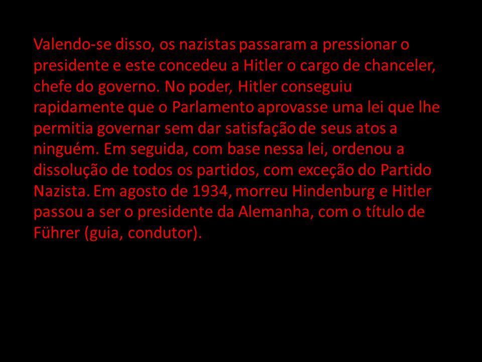 Valendo-se disso, os nazistas passaram a pressionar o presidente e este concedeu a Hitler o cargo de chanceler, chefe do governo. No poder, Hitler con