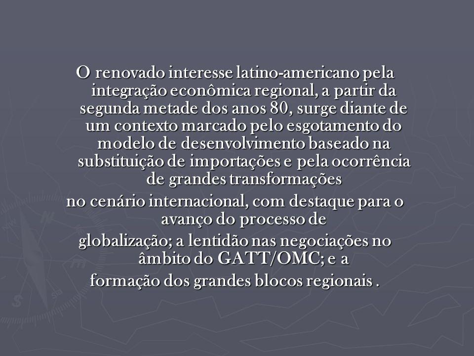 O renovado interesse latino-americano pela integração econômica regional, a partir da segunda metade dos anos 80, surge diante de um contexto marcado pelo esgotamento do modelo de desenvolvimento baseado na substituição de importações e pela ocorrência de grandes transformações no cenário internacional, com destaque para o avanço do processo de globalização; a lentidão nas negociações no âmbito do GATT/OMC; e a formação dos grandes blocos regionais.