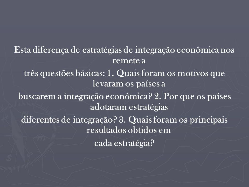 Esta diferença de estratégias de integração econômica nos remete a três questões básicas: 1.