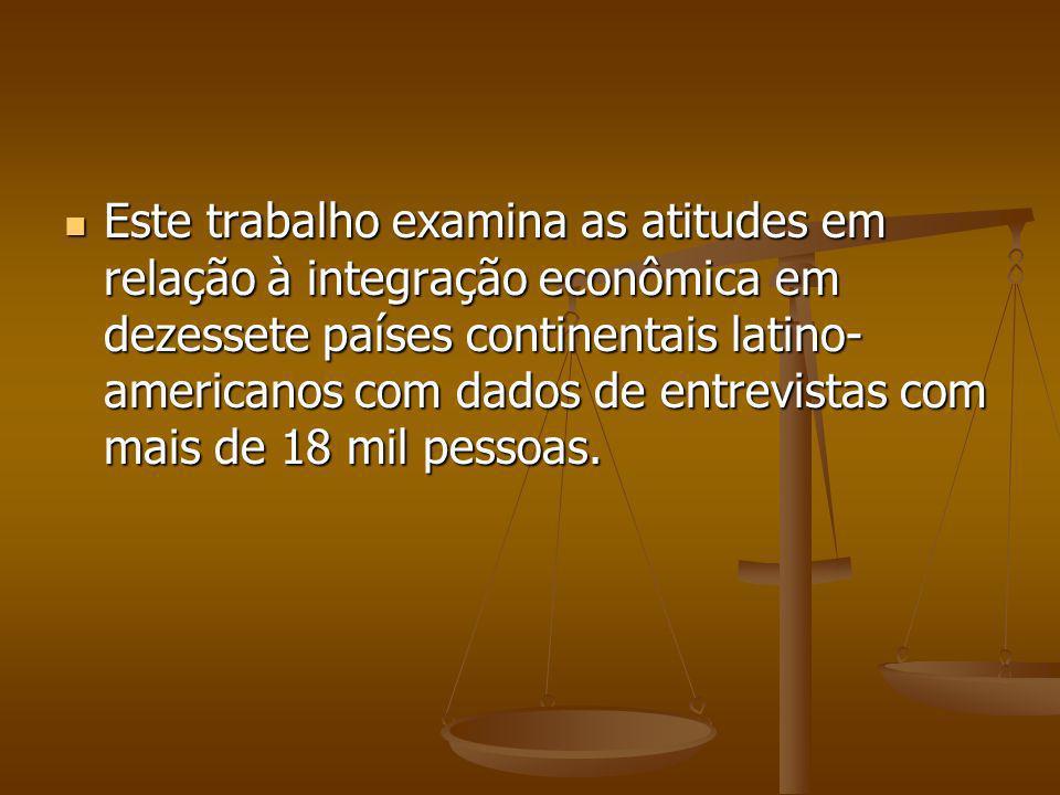 Este trabalho examina as atitudes em relação à integração econômica em dezessete países continentais latino- americanos com dados de entrevistas com mais de 18 mil pessoas.