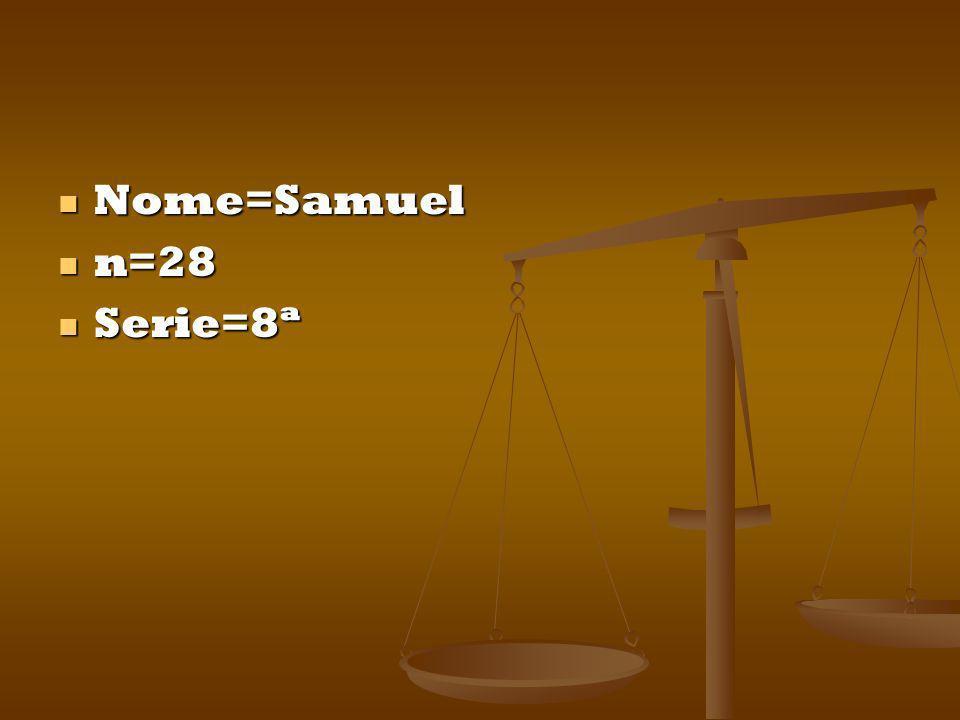 Nome=Samuel Nome=Samuel n=28 n=28 Serie=8ª Serie=8ª