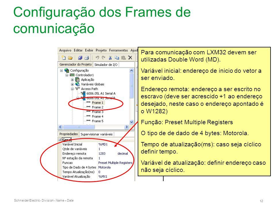 Schneider Electric 12 - Division - Name – Date Configuração dos Frames de comunicação Para comunicação com LXM32 devem ser utilizadas Double Word (MD)
