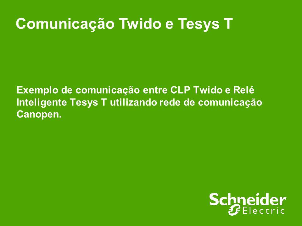 Schneider Electric 2 - Suporte Técnico – Aloisio Celso Bacchetti Junior / Lucas Eduardo Vidi Scopel – 24/01/2012 Comunicação realizada entre CLP Twido (TWDLCAE40DRF) e Relé inteligente Tesys T (LTMR08CFM), onde o CLP Twido foi definido como mestre, gerenciando a comunicação, e o relé inteligenteTesys T foi definido como escravo.