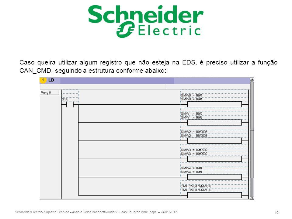 Schneider Electric 10 - Suporte Técnico – Aloisio Celso Bacchetti Junior / Lucas Eduardo Vidi Scopel – 24/01/2012 Caso queira utilizar algum registro