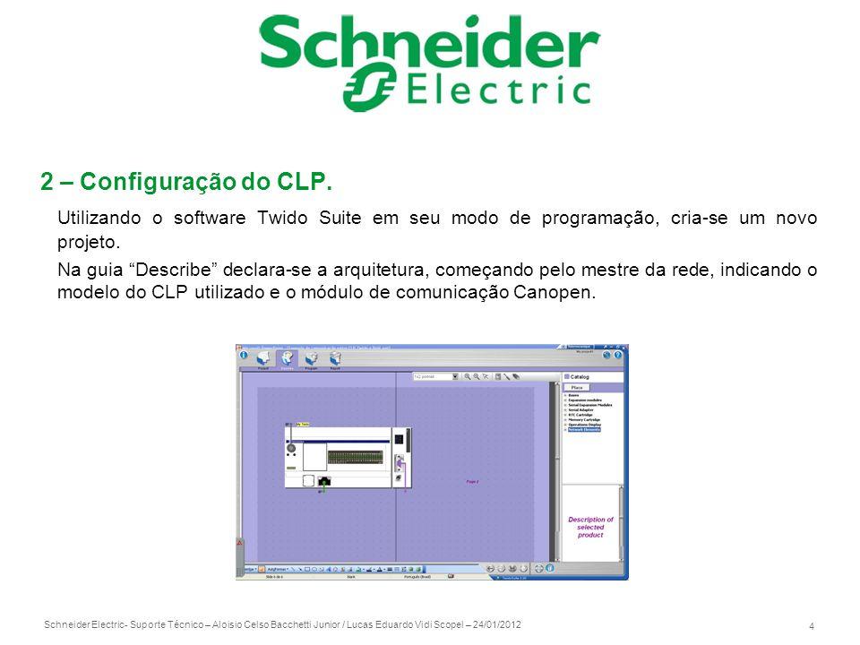 Schneider Electric 4 - Suporte Técnico – Aloisio Celso Bacchetti Junior / Lucas Eduardo Vidi Scopel – 24/01/2012 2 – Configuração do CLP. Utilizando o
