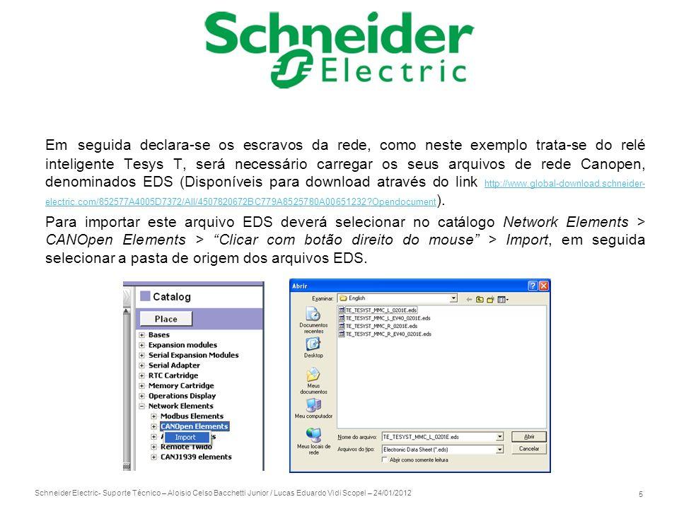 Schneider Electric 5 - Suporte Técnico – Aloisio Celso Bacchetti Junior / Lucas Eduardo Vidi Scopel – 24/01/2012 Em seguida declara-se os escravos da