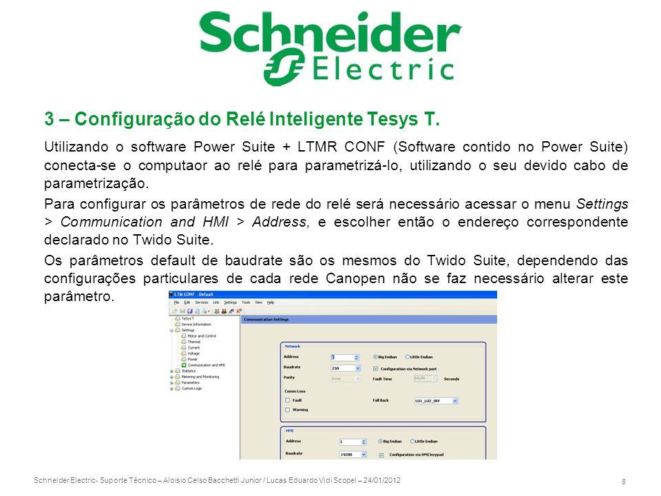 Schneider Electric 8 - Suporte Técnico – Aloisio Celso Bacchetti Junior / Lucas Eduardo Vidi Scopel – 24/01/2012 3 – Configuração do Relé Inteligente