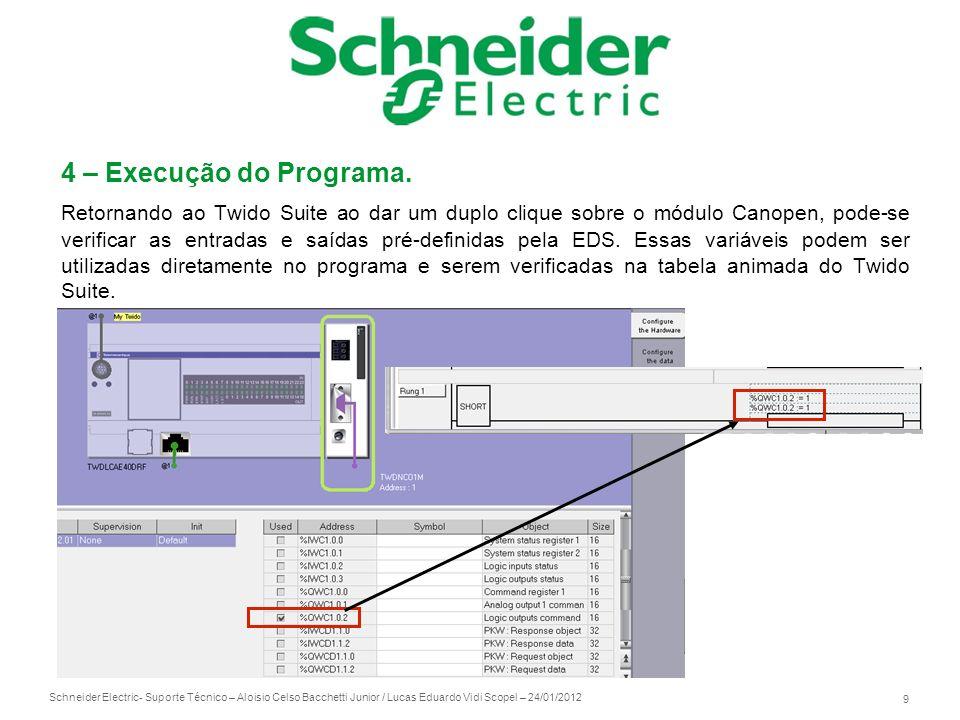 Schneider Electric 10 - Suporte Técnico – Aloisio Celso Bacchetti Junior / Lucas Eduardo Vidi Scopel – 24/01/2012 Caso queira utilizar algum registro que não esteja na EDS, é preciso utilizar a função CAN_CMD, seguindo a estrutura conforme abaixo: