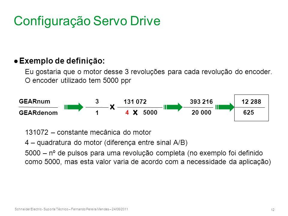 Schneider Electric 12 - Suporte Técnico – Fernando Pereira Mendes – 24/06/2011 Configuração Servo Drive Exemplo de definição: Eu gostaria que o motor