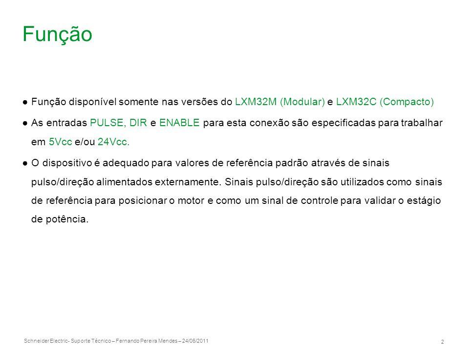Schneider Electric 3 - Suporte Técnico – Fernando Pereira Mendes – 24/06/2011 Pulso/Direção sinal Para implementação da função pulso/direção utilizar o conector CN5
