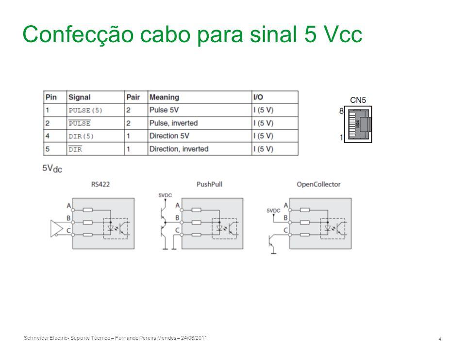 Schneider Electric 5 - Suporte Técnico – Fernando Pereira Mendes – 24/06/2011 Referencial 0 Vcc Pinos 2 e 5 são os pontos comum, ou seja, é o referencial 0 Vcc