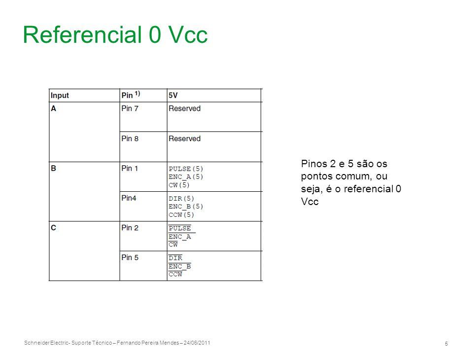 Schneider Electric 5 - Suporte Técnico – Fernando Pereira Mendes – 24/06/2011 Referencial 0 Vcc Pinos 2 e 5 são os pontos comum, ou seja, é o referenc