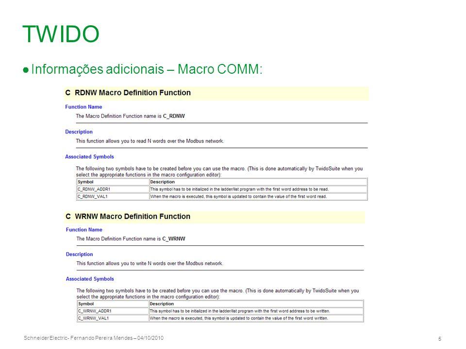 Schneider Electric 6 - Fernando Pereira Mendes – 04/10/2010 Twido – Leitura do Status