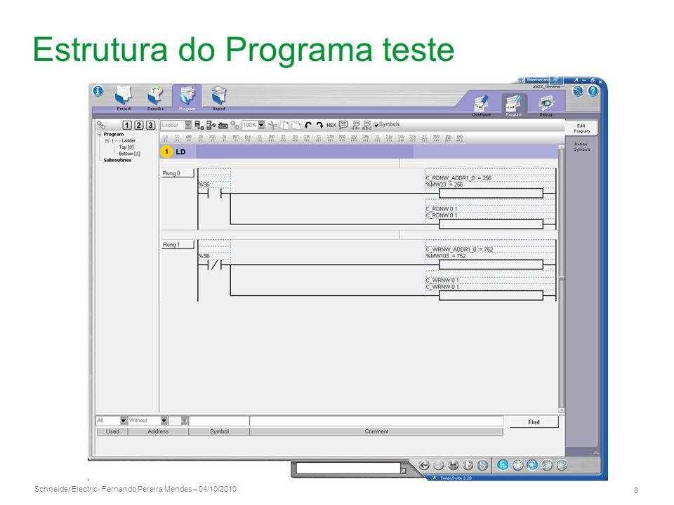 Schneider Electric 9 - Fernando Pereira Mendes – 04/10/2010 Ligações Pinagem conector modbus Ligação necessária para partir/ parar conversor via rede modbus