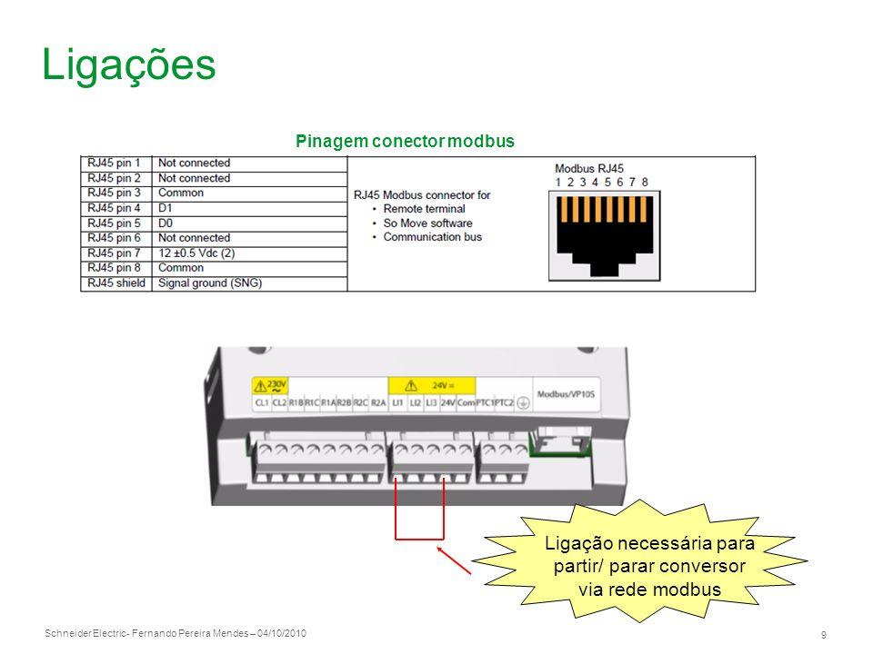Schneider Electric 9 - Fernando Pereira Mendes – 04/10/2010 Ligações Pinagem conector modbus Ligação necessária para partir/ parar conversor via rede