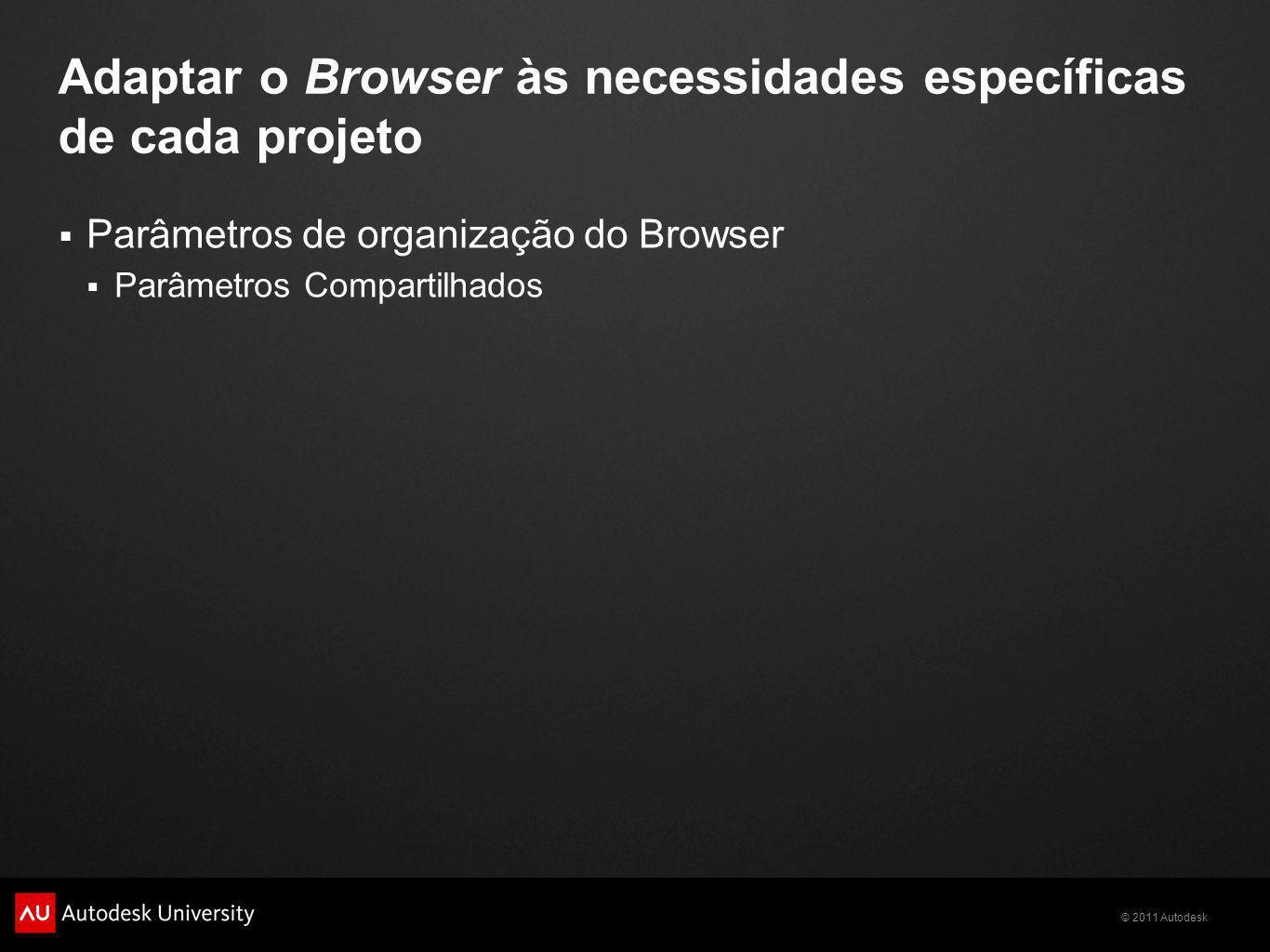 Adaptar o Browser às necessidades específicas de cada projeto Parâmetros de organização do Browser Parâmetros Compartilhados