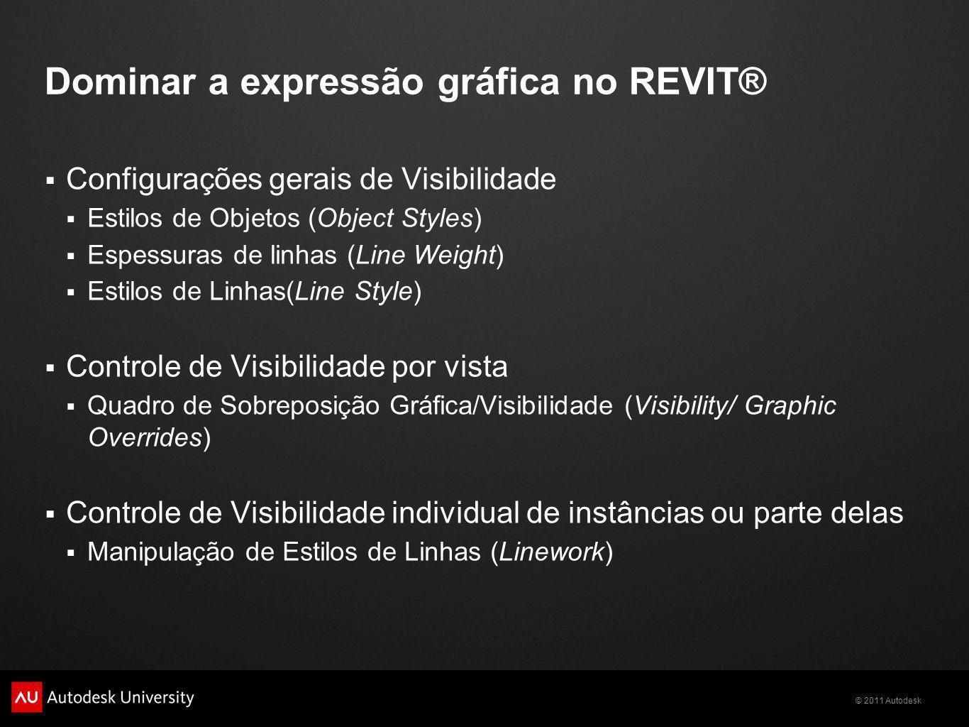 © 2011 Autodesk Dominar a expressão gráfica no REVIT® Configurações gerais de Visibilidade Estilos de Objetos (Object Styles) Espessuras de linhas (Li