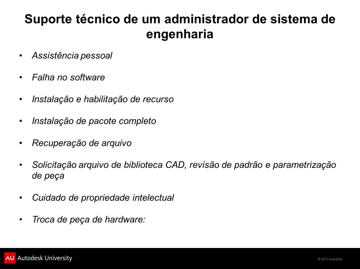 © 2011 Autodesk Suporte técnico de um administrador de sistema de engenharia Assistência pessoal Falha no software Instalação e habilitação de recurso