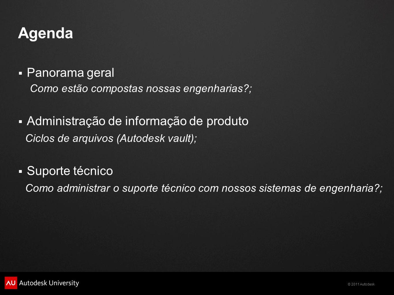 Agenda Panorama geral Como estão compostas nossas engenharias?; Administração de informação de produto Ciclos de arquivos (Autodesk vault); Suporte té