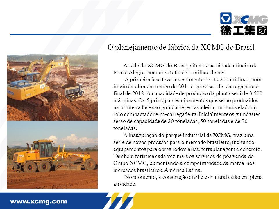 O planejamento de fábrica da XCMG do Brasil A sede da XCMG do Brasil, situa-se na cidade mineira de Pouso Alegre, com área total de 1 milhão de m². A