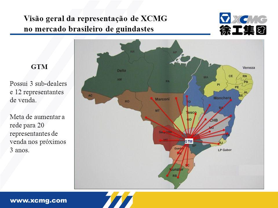 GTM Possui 3 sub-dealers e 12 representantes de venda. Meta de aumentar a rede para 20 representantes de venda nos próximos 3 anos. Visão geral da rep