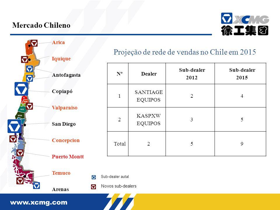 Arica Iquique Antofagasta Copiapó Valparaiso San Diego Concepcion Puerto Montt Temuco Arenas Mercado Chileno NºDealer Sub-dealer 2012 Sub-dealer 2015
