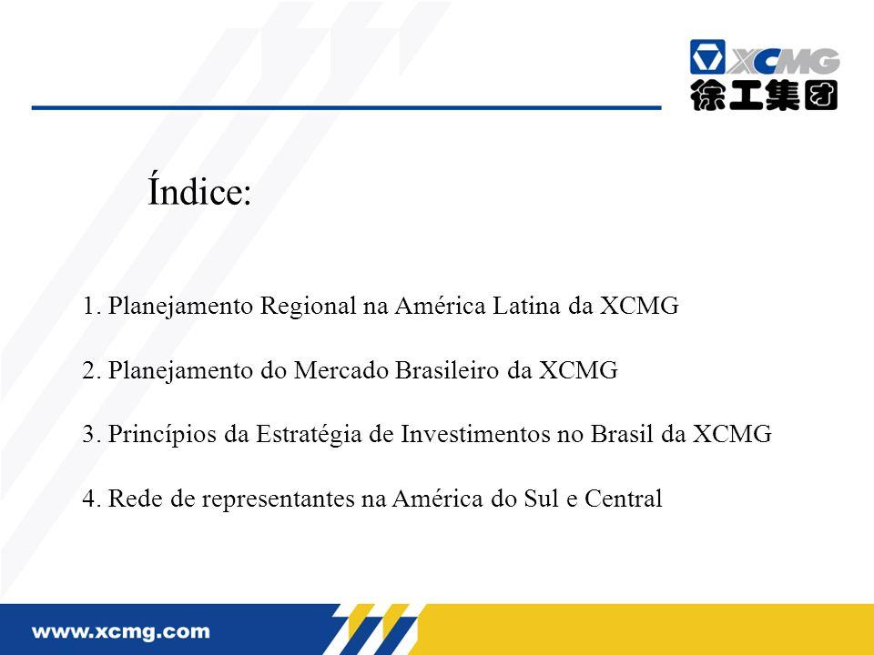 1. Planejamento Regional na América Latina da XCMG 2. Planejamento do Mercado Brasileiro da XCMG 3. Princípios da Estratégia de Investimentos no Brasi