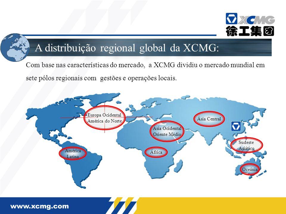 Sudeste Asiático Ásia Ocidental Oriente Médio Ásia Central América Latina África A distribuição regional global da XCMG: Com base nas características