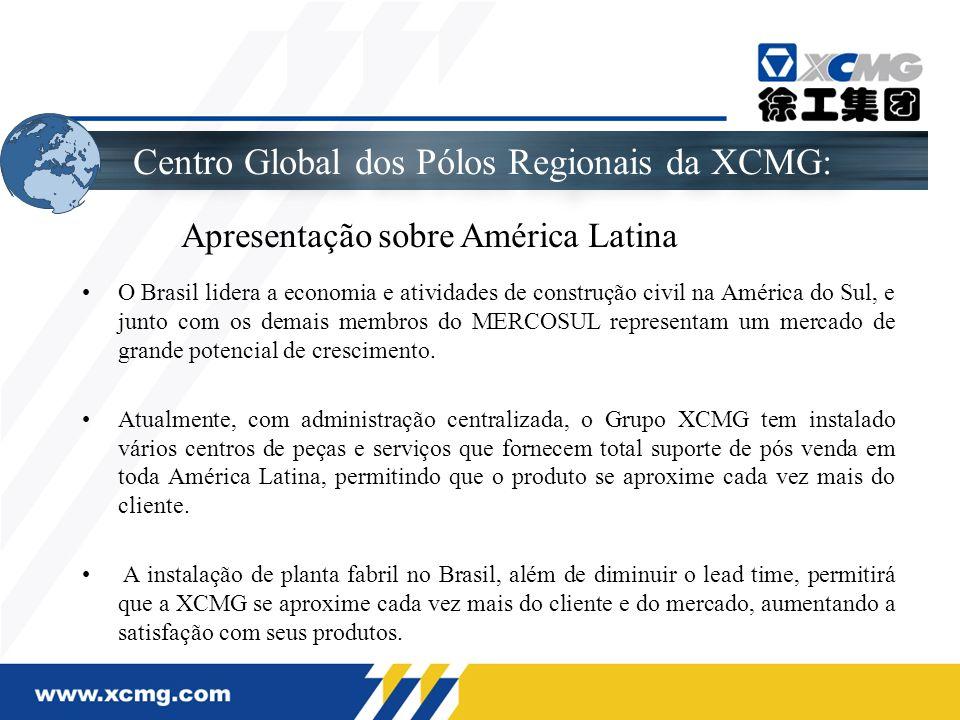 O Layout de Planejamento da América Latina da XCMG Atualmente, dentro do pólo regional América Latina, a XCMG está localizada em: Brasil, Argentina, Chile, Peru, Uruguai, Bolívia, Colômbia, Venezuela, México.