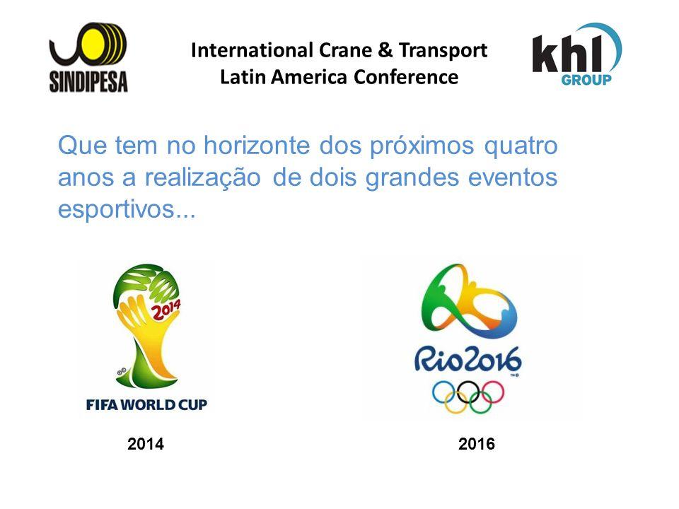 International Crane & Transport Latin America Conference Que tem no horizonte dos próximos quatro anos a realização de dois grandes eventos esportivos