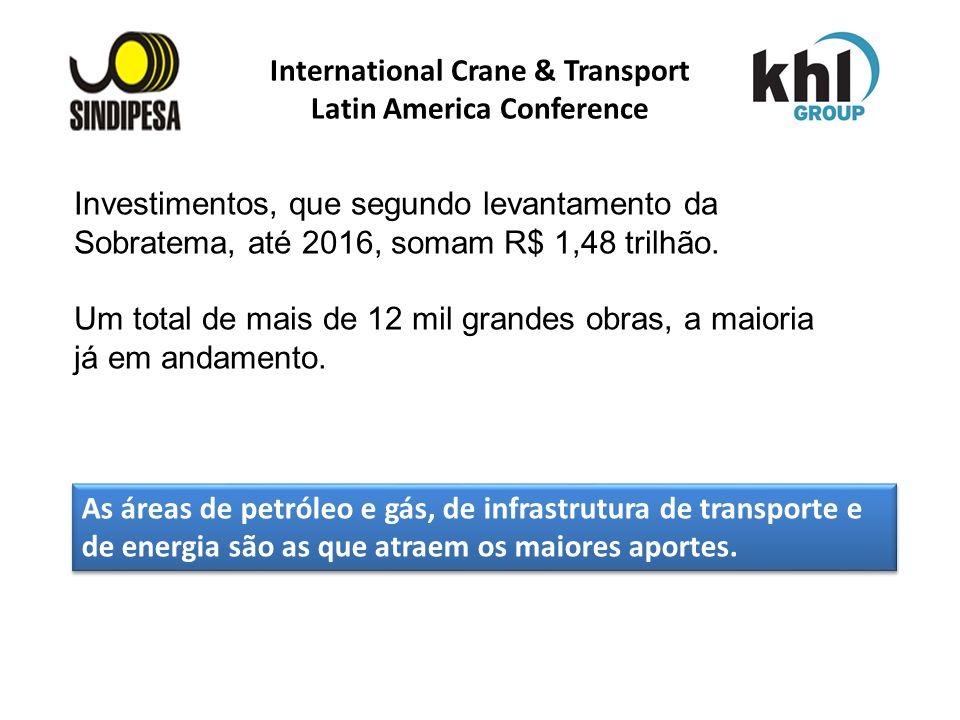 International Crane & Transport Latin America Conference Investimentos, que segundo levantamento da Sobratema, até 2016, somam R$ 1,48 trilhão. Um tot