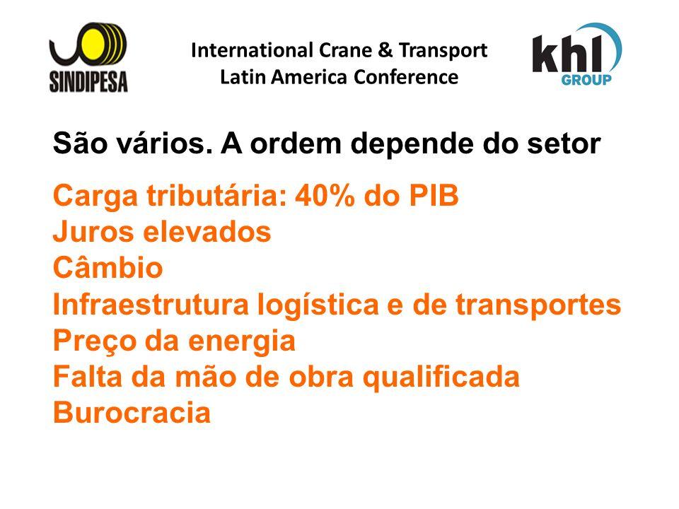 International Crane & Transport Latin America Conference FÁBRICA DE FERTILIZANTES DA PETROBRAS São vários. A ordem depende do setor Carga tributária:
