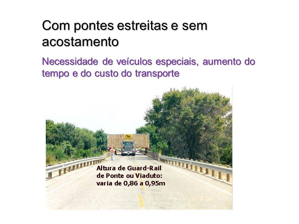 Com pontes estreitas e sem acostamento Necessidade de veículos especiais, aumento do tempo e do custo do transporte