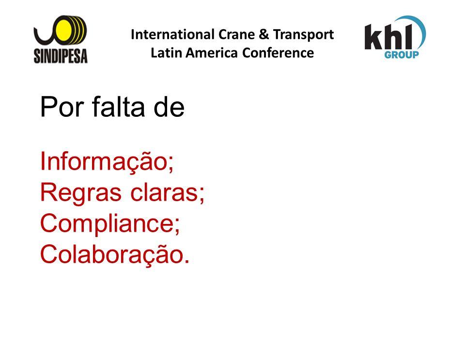 Por falta de Informação; Regras claras; Compliance; Colaboração. International Crane & Transport Latin America Conference
