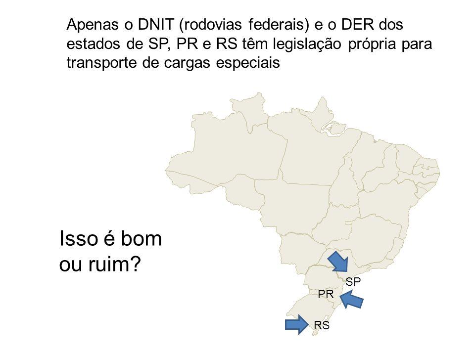 RS PR SP Apenas o DNIT (rodovias federais) e o DER dos estados de SP, PR e RS têm legislação própria para transporte de cargas especiais Isso é bom ou