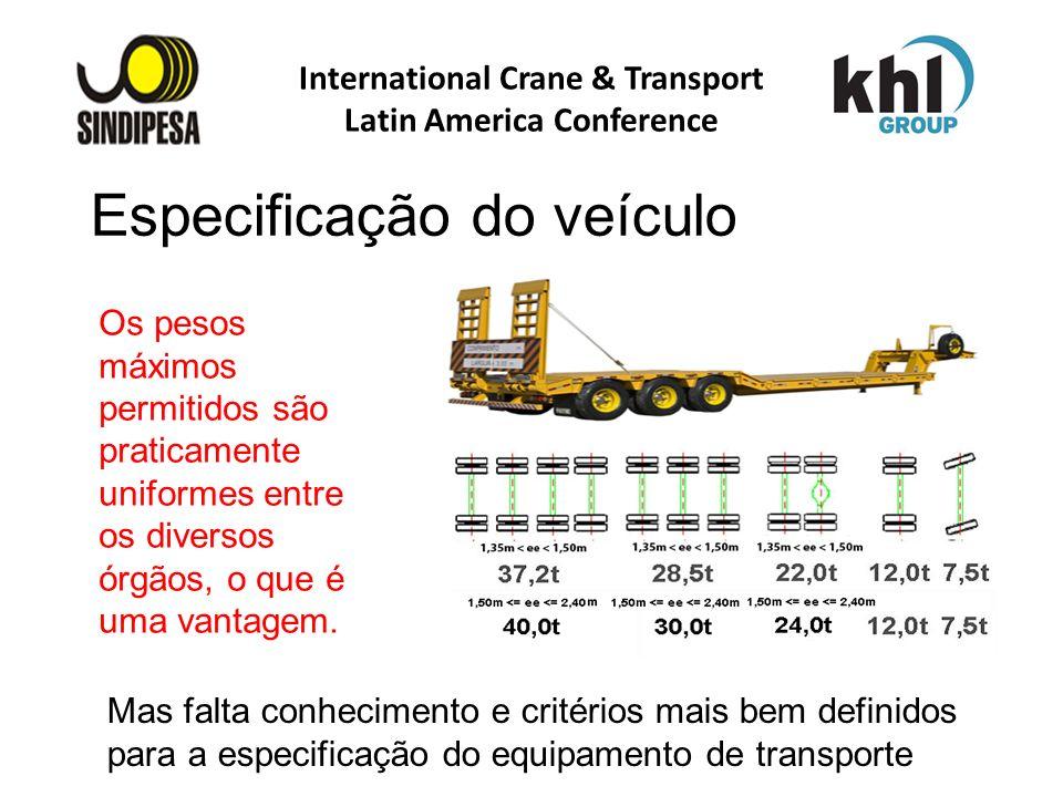 International Crane & Transport Latin America Conference FÁBRICA DE FERTILIZANTES DA PETROBRAS Os pesos máximos permitidos são praticamente uniformes