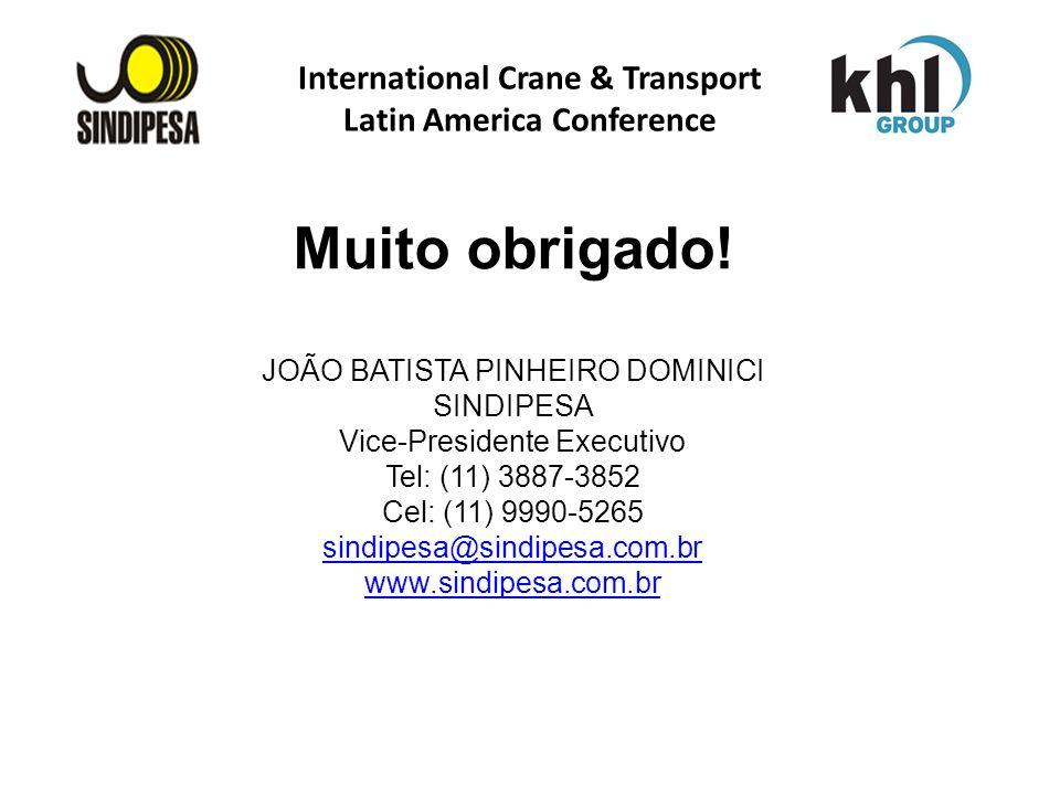 International Crane & Transport Latin America Conference Muito obrigado! JOÃO BATISTA PINHEIRO DOMINICI SINDIPESA Vice-Presidente Executivo Tel: (11)