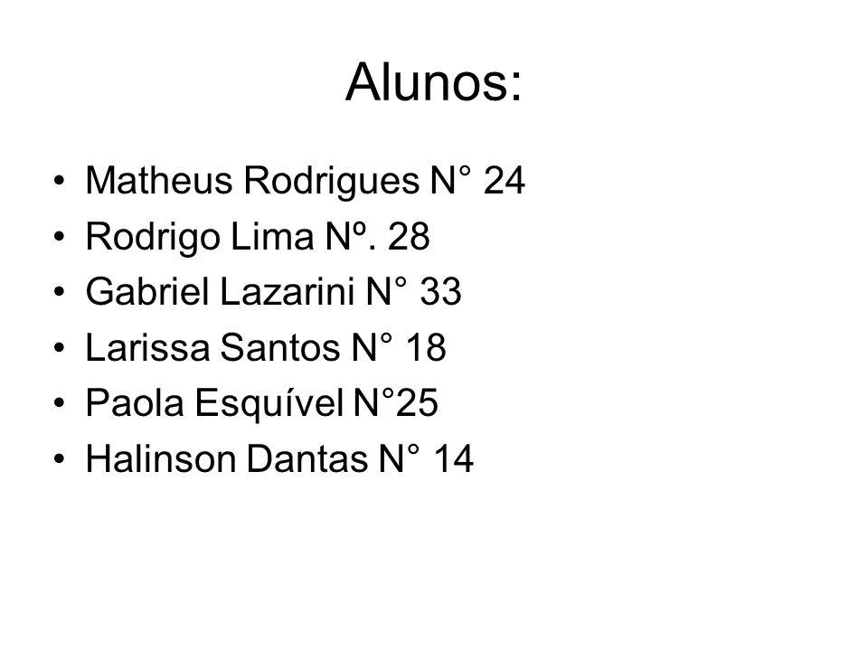 Alunos: Matheus Rodrigues N° 24 Rodrigo Lima Nº. 28 Gabriel Lazarini N° 33 Larissa Santos N° 18 Paola Esquível N°25 Halinson Dantas N° 14